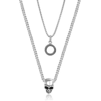 Dvojitý pánský ocelový náhrdelník Lucas - chirurgická ocel, lebka