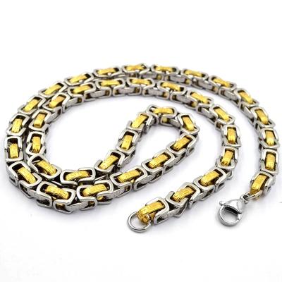 Pánský ocelový řetízek Xavier Gold - byzantský typ, chirugická ocel