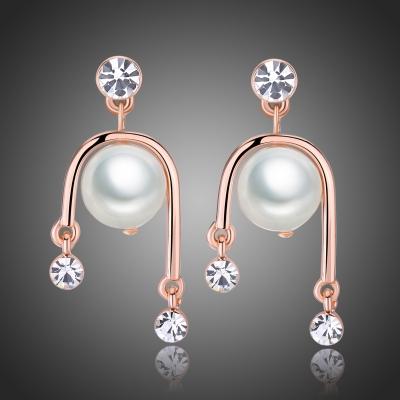 Náušnice s perlou a Swarovski krystaly Barbara