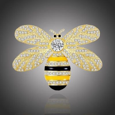Brož Swarovski Elements Josette Gold - včela