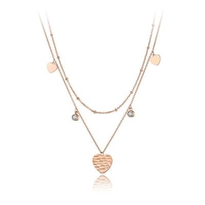 Ocelový náhrdelník se zirkony Borghi Gold - srdíčko, chirurgická ocel