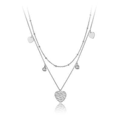 Ocelový náhrdelník se zirkony Borghi - srdíčko, chirurgická ocel