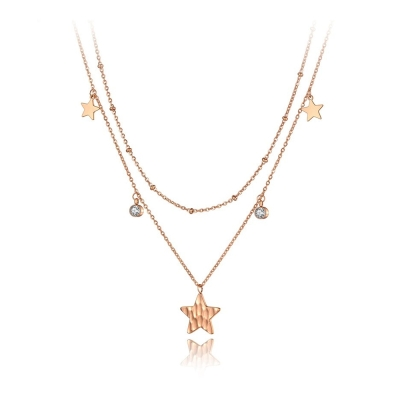 Ocelový náhrdelník se zirkony Valeria Gold - hvězda, chirurgická ocel