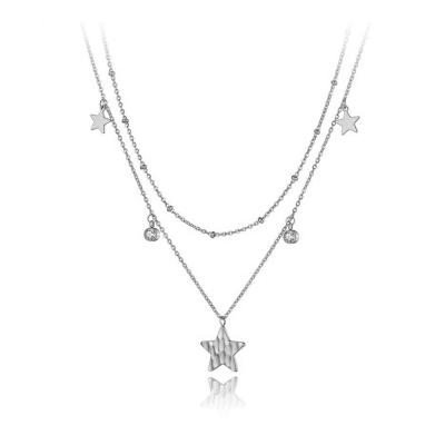 Ocelový náhrdelník se zirkony Valeria - hvězda, chirurgická ocel