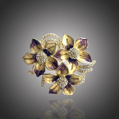 Malovaná brož Swarovski Elements - květina
