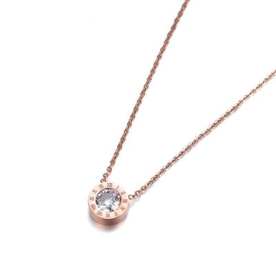 Ocelový náhrdelník se zirkony Virginia Gold - chirurgická ocel