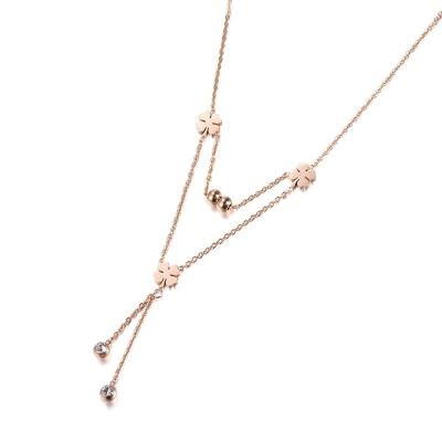 Ocelový náhrdelník se zirkony Reina - chirurgická ocel, čtyřlístek