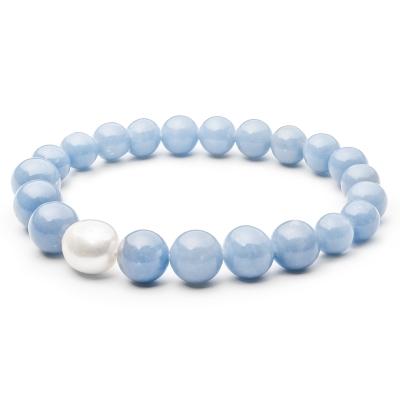 Náramek Selena - sladkovodní perla, modrý Angelit