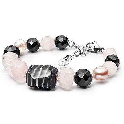 Náramek Henrieta - sladkovodní perla, Achát, Onyx, růžový Křemen
