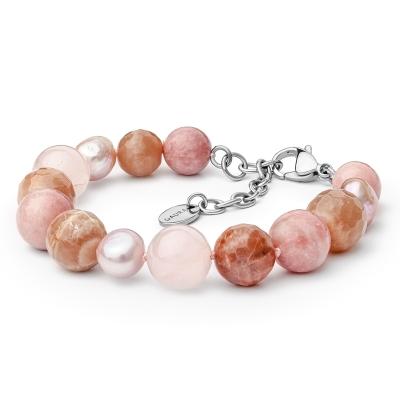 Náramek Manuela - sladkovodní perla,Slunenčí kámen,Růžový Křemen, Opál