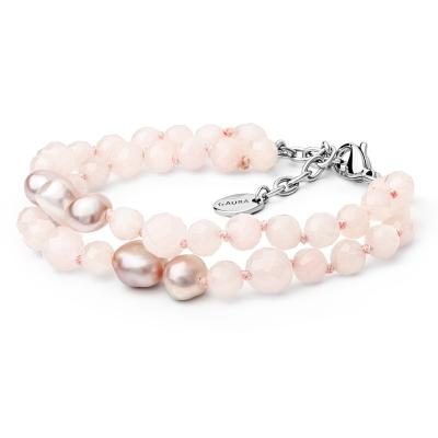 Dvojitý náramek Natalia se sladkovodní perlou a růžovým křemenem