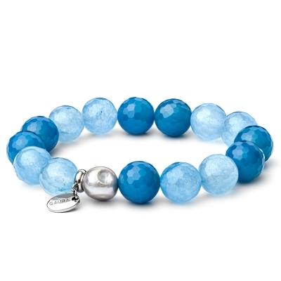 Náramek Neptuna - přírodní Achát, Nefrit a sladkovodní perla
