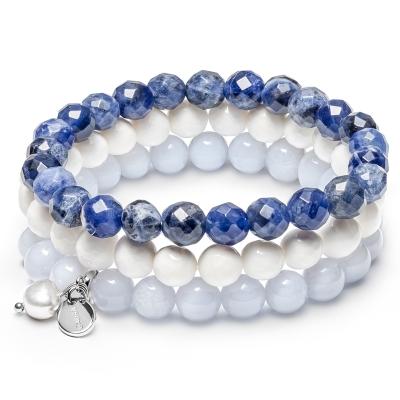 Souprava tří náramků - řiční perla, Achát, Sodalit, Mother of Pearl