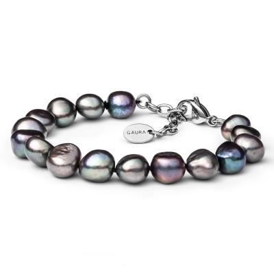 Perlový náramek Octavia - barokní černá sladkovodní perla