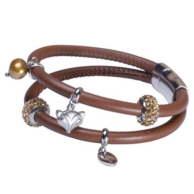 Náramek Umberta - kůže, chirurgická ocel, řiční perla