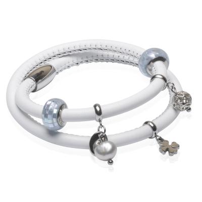 Náramek Diogéna - kůže, chirurgická ocel, řiční perla