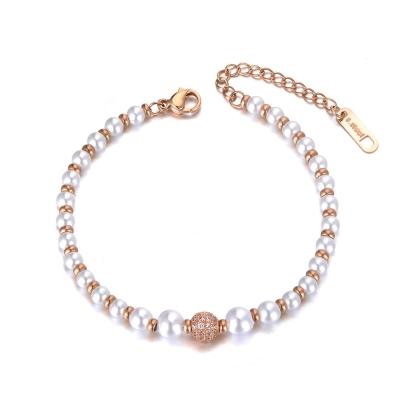 Perlový náramek se zirkony Locatelli Gold - chirurgická ocel