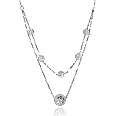Ocelový náhrdelník se zirkony Alfonsa - chirurgická ocel, strom života