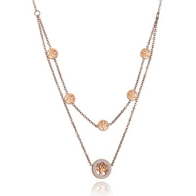 Ocelový náhrdelník se zirkony Alfonsa Gold - strom života