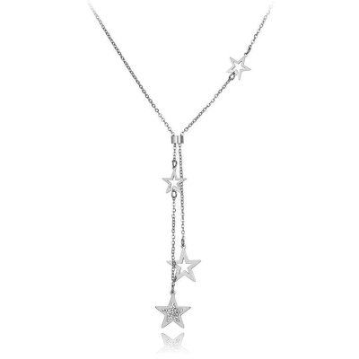 Ocelový náhrdelník se zirkony Ceferina - chirurgická ocel, hvězdy