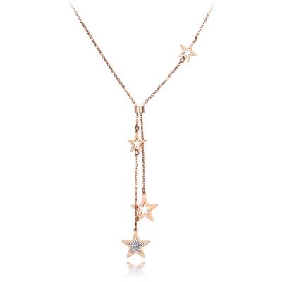 Ocelový náhrdelník se zirkony Ceferina Gold - chirurgická ocel, hvězdy