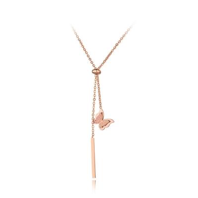 Ocelový náhrdelník Patrisa - chirurgická ocel, motýl