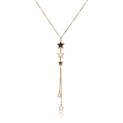 Ocelový náhrdelník Marica Gold - chirurgická ocel, hvězdy