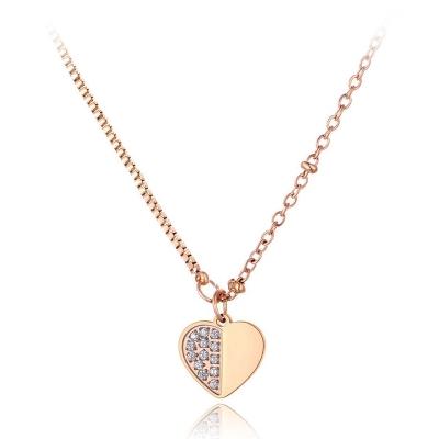 Ocelový náhrdelník Vincentia se zirkony - chirurgická ocel, srdce