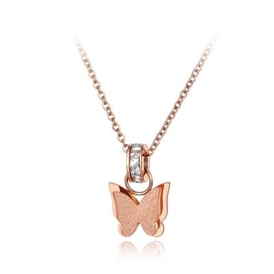 Ocelový náhrdelník Xaviera se zirkony - chirurgická ocel, motýl