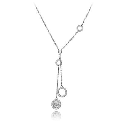 Ocelový náhrdelník se zirkony Bernarda - chirurgická ocel
