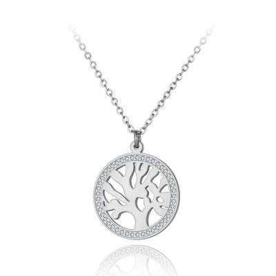 Ocelový náhrdelník se zirkony Audreya - strom života