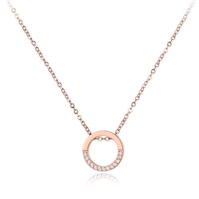 Ocelový náhrdelník se zirkony Joaquina Gold - chirurgická ocel