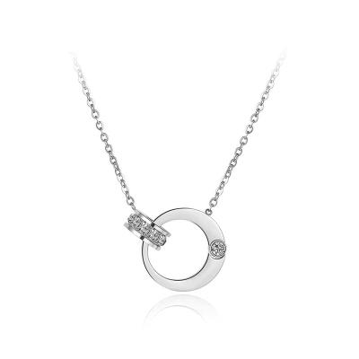 Ocelový náhrdelník se zirkony Carla - chirurgická ocel