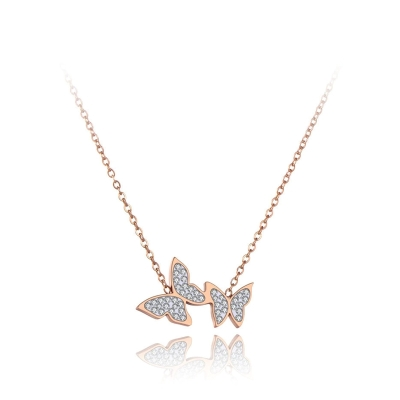 Ocelový náhrdelník se zirkony Claudia - chirurgická ocel, motýl