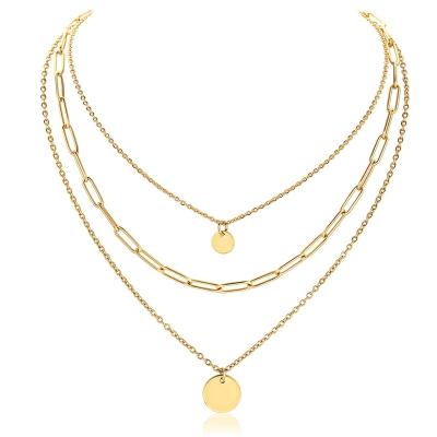 Ocelový trojitý náhrdelník Rugeri Gold - chirurgická ocel