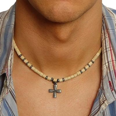 Pánský korálkový náhrdelník Eleine - kříž