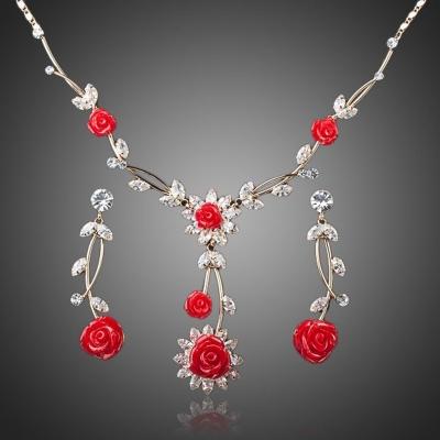 Souprava náhrdelníku a náušnic Swarovski Elements  Cintia - růže