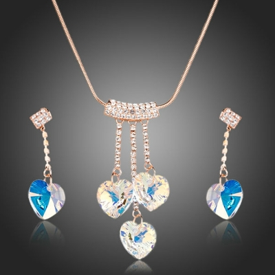 Souprava náhrdelníku a náušnic Swarovski Elements Betania - srdce
