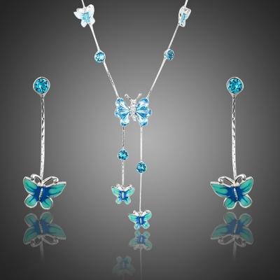 Souprava náhrdelníku a náušnic Swarovski Elements Tiara - motýl