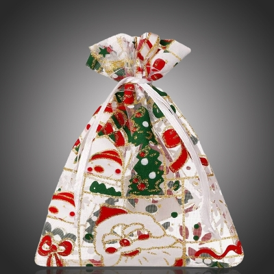 Vánoční organza pytlík/sáček Christmas na šperky 12x15 cm