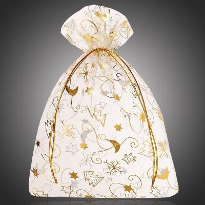 Vánoční organza pytlík/sáček Christmas II na šperky zlatý - 12x15 cm