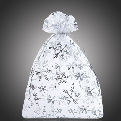 Vánoční organza pytlík/sáček Christmas III na šperky - 12x15 cm