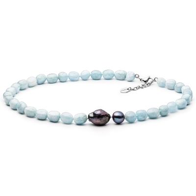 Korálkový náhrdelník Mia - sladkovodní perla, přírodní Akvamarín