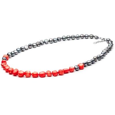 Korálkový náhrdelník Benedicta - sladkovodní perla, Korál