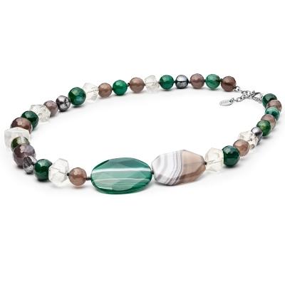 Korálkový náhrdelník Thierra - sladkovodní perla, achát, citrín