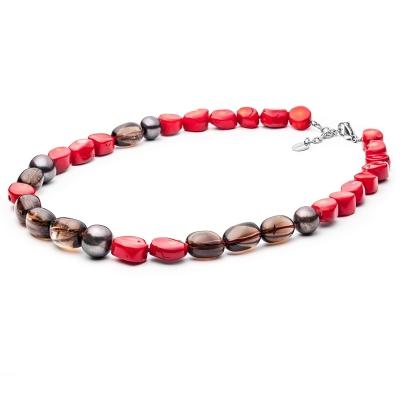 Náhrdelník Jerroma - sladkovodní perla, korál, kouřový křemen