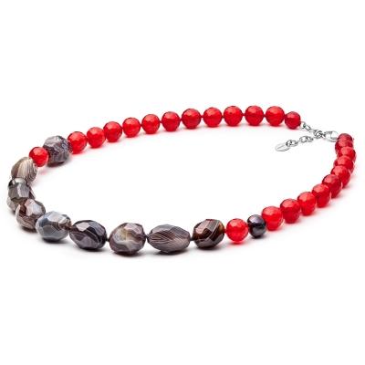 Náhrdelník Fabia - sladkovodní perla, achát, nefrit