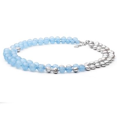 Perlový náhrdelník Bruna - sladkovodní perla, nefrit