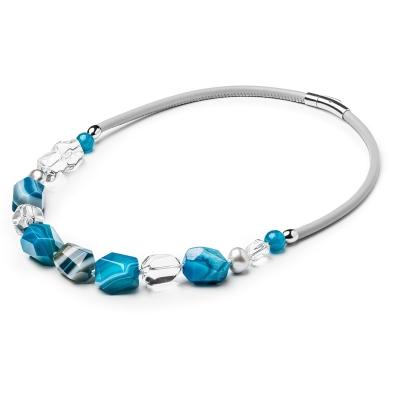 Náhrdelník s polodrahokamy Diora - sladkovodní perla, křišťál, achát