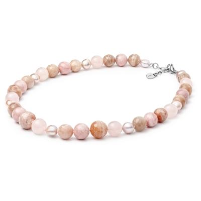 Náhrdelník s polodrahokamy Amira - perla, sluneční kámen, opál, křemen